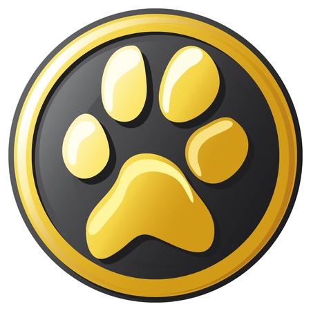 isolated tiger: icona del pulsante di stampa della zampa