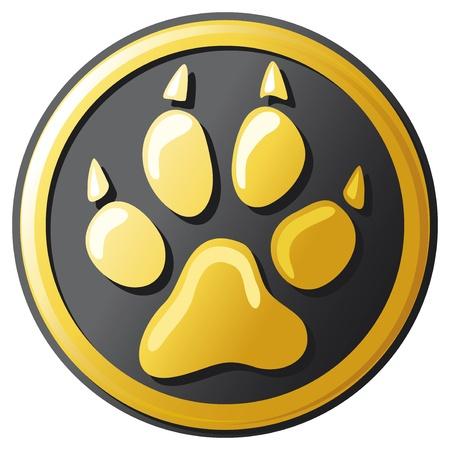 patas de perros: pata icono de botón de impresión