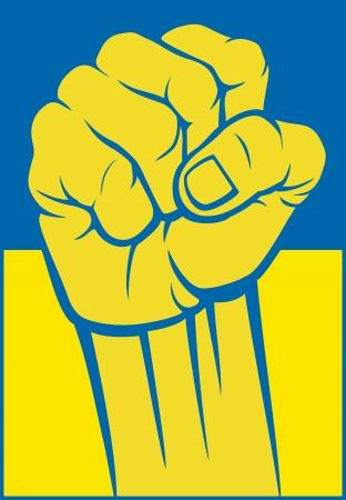 ucrania puño de la bandera de ucrania