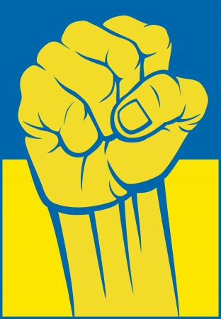ukraine fist  flag of ukraine  Stock Vector - 21060626