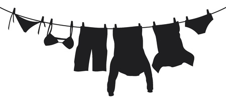 underclothing: clothes hanging on a clothesline