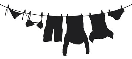 mann unterw�sche: Kleider h�ngen auf einer W�scheleine Illustration