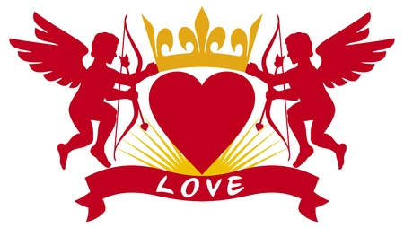 two cupids, heart and crown Stock Vector - 21060594