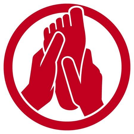 massage therapie: voetmassage symbool Stock Illustratie