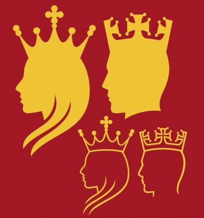 rey: rey y la reina cabezas