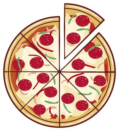 mozzarella cheese: pizza illustration with a slice