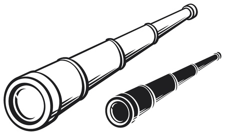 antique binoculars: spyglass  illustration of a telescope