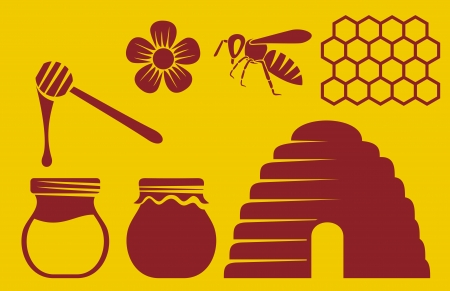 honeycombs: bee and honey icons Illustration
