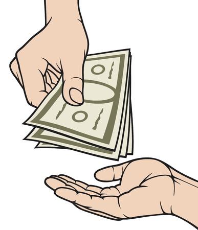 手を与えるとお金を受け取る