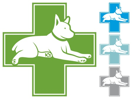 veterinary symbol: animals - first aid  pet first aid, veterinary symbol with dog