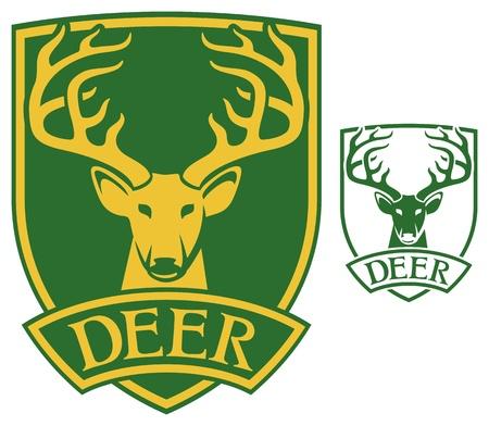 stag horn: deer head symbol  deer symbol, deer sign, deer label, deer design, deer shield