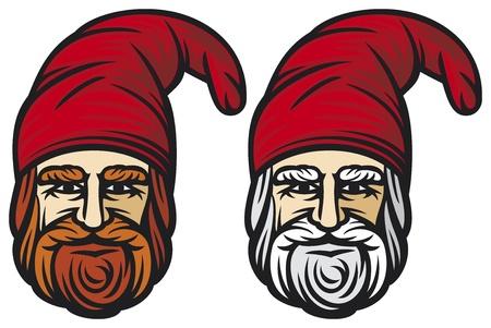 happy dwarf  garden dwarf, garden gnome, dwarf head  Stock Vector - 21892973