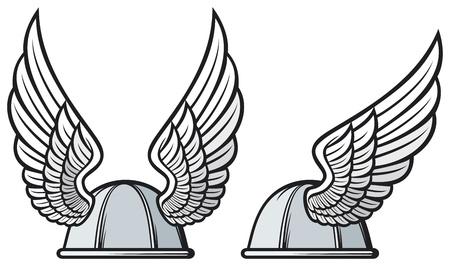 gaul helmet  gaelic helmet with wings, gaul warrior helmet, viking helmet Stock Vector - 21892989