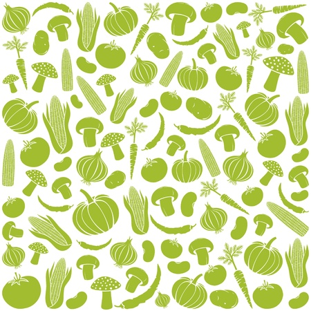 seamless pattern with vegetables  vegetable background, vegetables seamless background, corncob, onion, tomato, mushroom, potato, chili pepper, beans, pumpkin, carrot Stock Vector - 21893005
