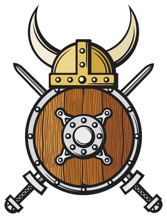 crossed swords: casco de vikingo, escudo y espadas cruzadas escudo redondo de madera, escudo de vikingos Vectores