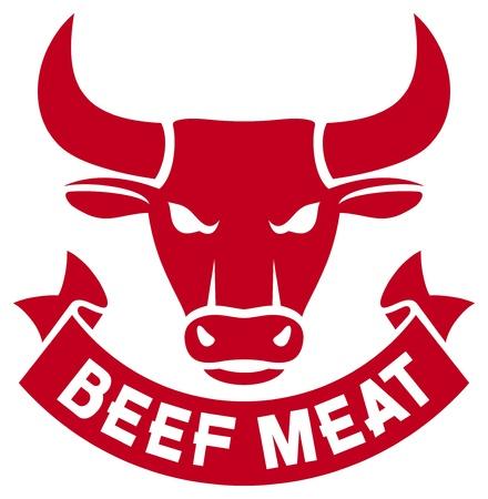 牛、牛肉ラベル、牛肉記号、雄牛の頭部の牛の肉肉