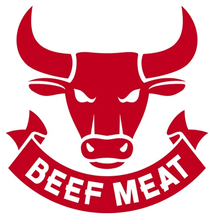 beef meat  meat of cow, beef label, beef sign, bull head