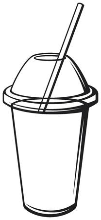牛乳を振る新鮮な飲料、ストロー付き飲料カップ