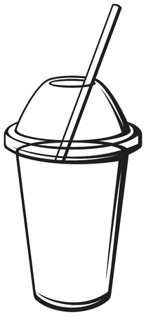 cold coffee: milk shake  fresh beverage, beverage cup with drinking straw  Illustration