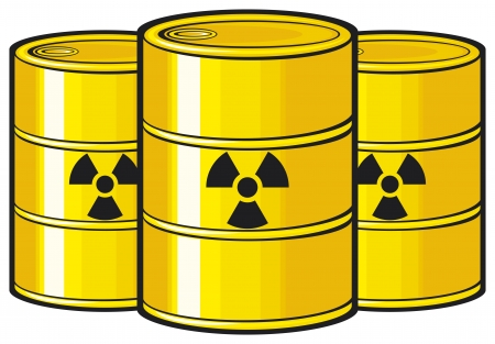 caution chemistry: barrels with nuclear waste  barrel radioactive waste, radioactive tank and warning sign, barrels with radioactivity waste symbol, toxic barrels, radiation symbol  Illustration