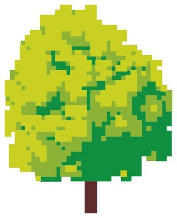 linden tree: abstract tree  pixel tree