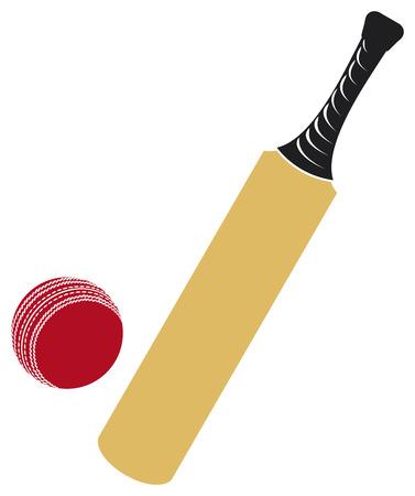 murcielago: bate de cricket y una pelota de cricket Vectores