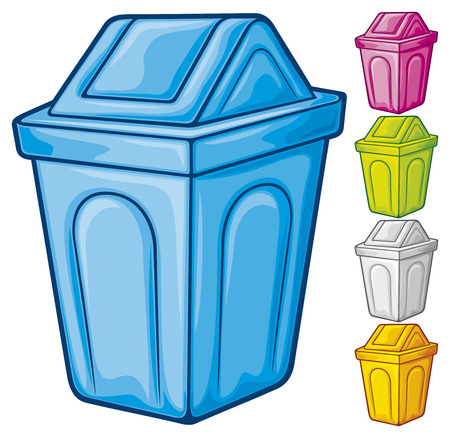 wastepaper: recycle bin  waste recycle can, waste bin, recycle trash can, waste can, trash can  Illustration