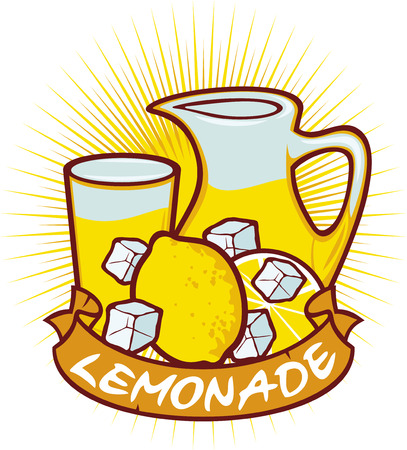 lemonade label  lemonade design - lemonade glass, glass of lemonade, lemonade in pitcher  Vector