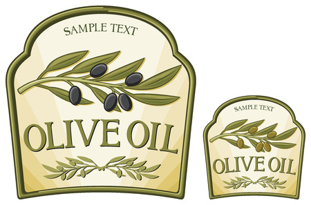 olive oil label  olive branch, olive oil sticker, olive oil badge  Vector