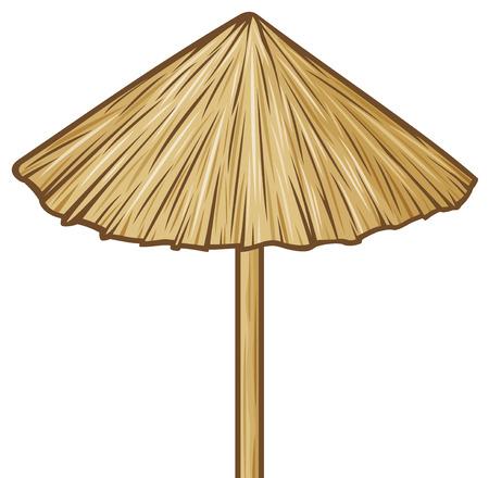 straw umbrella  wooden sunshade, beach umbrella  Vector