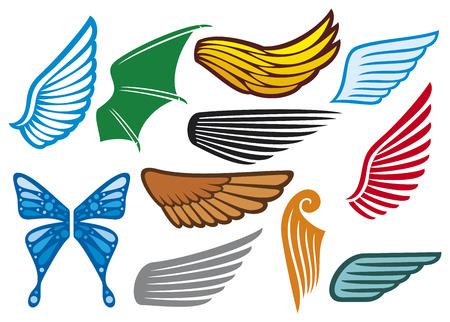Alas colección alas set, alas iconos Foto de archivo - 23126218