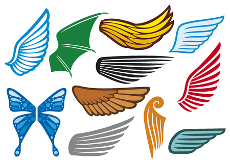 artificial wing: wings collection  wings set, wings icons  Illustration