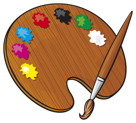 wooden art palette with paints and paint brush  color palette  Vector