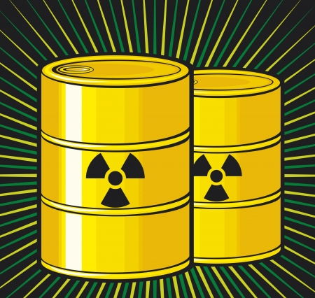 nuclear waste: barrels with nuclear waste  barrel radioactive waste, radioactive tank and warning sign, barrels with radioactivity waste symbol, toxic barrels, radiation symbol  Illustration