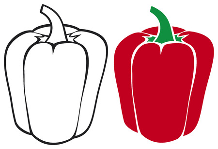 hot pepper: sweet red bell pepper Illustration