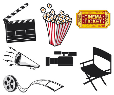 film role: cinema icons  cinema projector and film strip, popcorn in a striped tub, cinema clapboard, movie clapper board, video camera, cinema ticket, movie director chair  Illustration