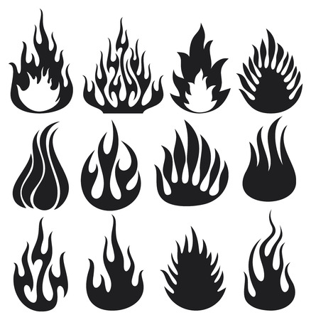set of vector flames  fire flames, fire icon set, flame icons, fire symbols