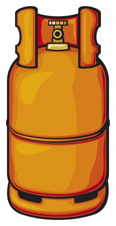 barrel bomb: a propane gas cylinder  gas balloon, domestic gas cylinder, gas container  Illustration