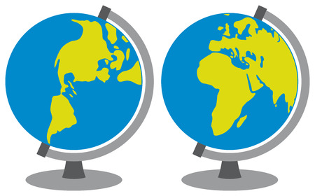 school globe  globes showing earth with all continents, world globe, globe icon, terrestrial globe  Vector