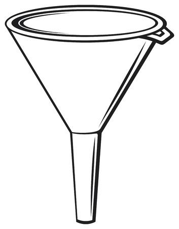 illustratie van trechter plastic trechter voor huishoudelijk gebruik, plastic trechter voor het overbrengen van vloeibare Stock Illustratie
