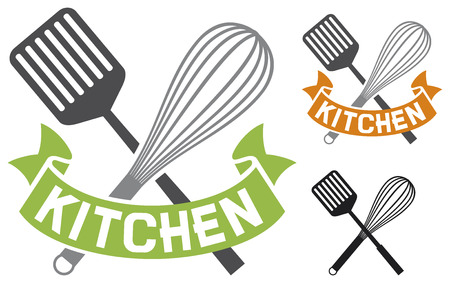 domestic kitchen: crossed spatula and balloon whisk - kitchen symbol  kitchen design, kitchen sign  Illustration