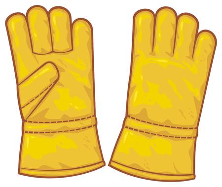 guantes de cuero guantes de protección, guantes de trabajo Ilustración de vector