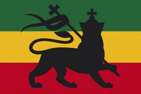 rastafarian flag with the lion of judah  rastafarian lion, reggae background  Vector