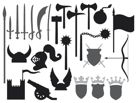 medieval weapons icons  tower, gaul helmet, medieval knight helmet, ancient cannon, swords, katana sword, old bomb, battle ax, hammer, flag, crown, coat of arms, shield, saber, medieval flail  Vector