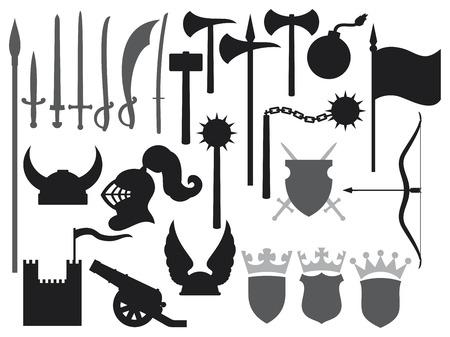 sabel: middeleeuwse wapens pictogrammen toren, gaul helm, middeleeuwse ridder helm, oude kanon, zwaarden, katana zwaard, oude bom, strijdbijl, hamer, vlag, kroon, wapenschild, schild, sabel, middeleeuwse dorsvlegel Stock Illustratie