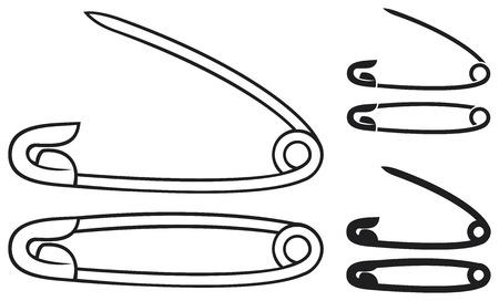 clavijas alfileres de plata de seguridad abiertos y cerrados Ilustración de vector
