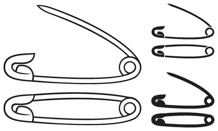 open and closed safety pin  silver safety pins  Vector