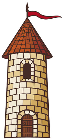 medieval tower  old castle  Illustration