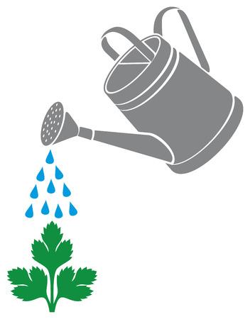 zomertuin: gieter planten water geven Stock Illustratie