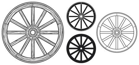 oude houten wielen Stock Illustratie